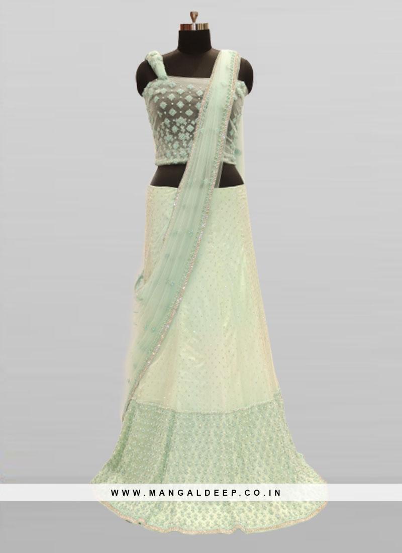 Green Color Pearl Work Bridal Lehenga