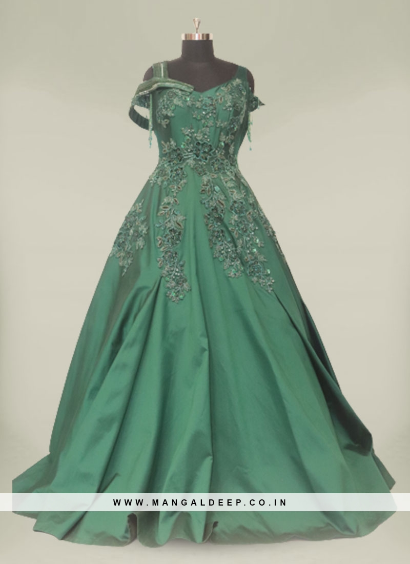 Green Color Pearls Work Reception Dress