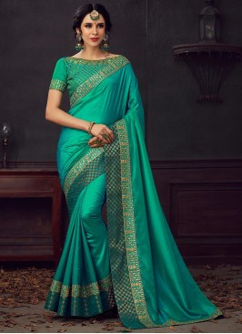 Green Color Poly Silk Saree With Unstitched Blouse
