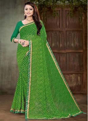 Green Color Printed Georgette Saree