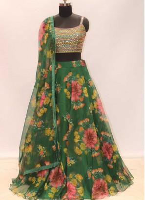 Green Color Printed Mehndi Wear Lehenga