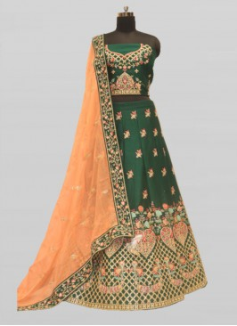 Green Color Raw Silk Wedding Lehenga