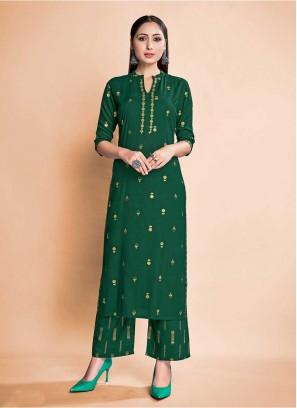 Green Color Rayon Kurti With Pants