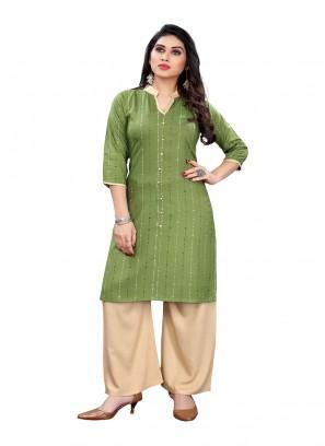 Green Color Rayon Printed Kurti For Girls