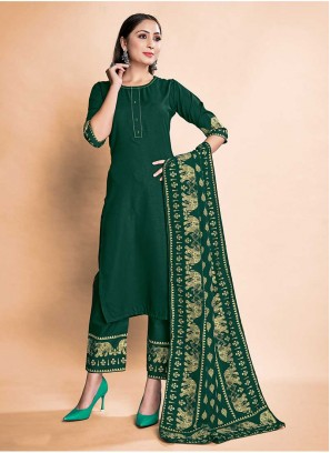Green Color Rayon Readymade Suits