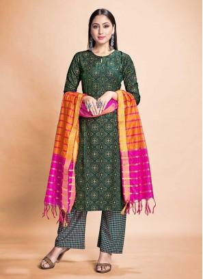 Green Color Rayon Salwar Suit Readymade