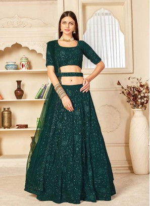 Green Color Sangeet Wear Lehenga