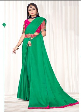 Green Color Saree With Belt