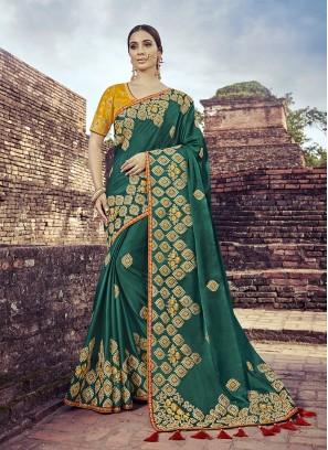 Green Color Satin Silk Classic Saree