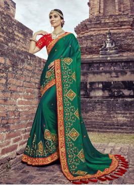 Green Color Satin Silk Fancy Saree