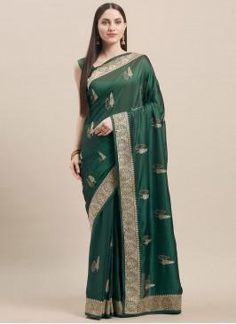 Green Color Satin Silk Office Wear Saree