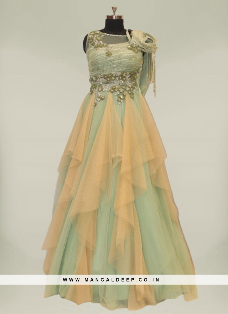 Green Color Sequins Work Net Gowns For Wedding
