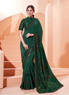 Green Color Sequins Work Saree