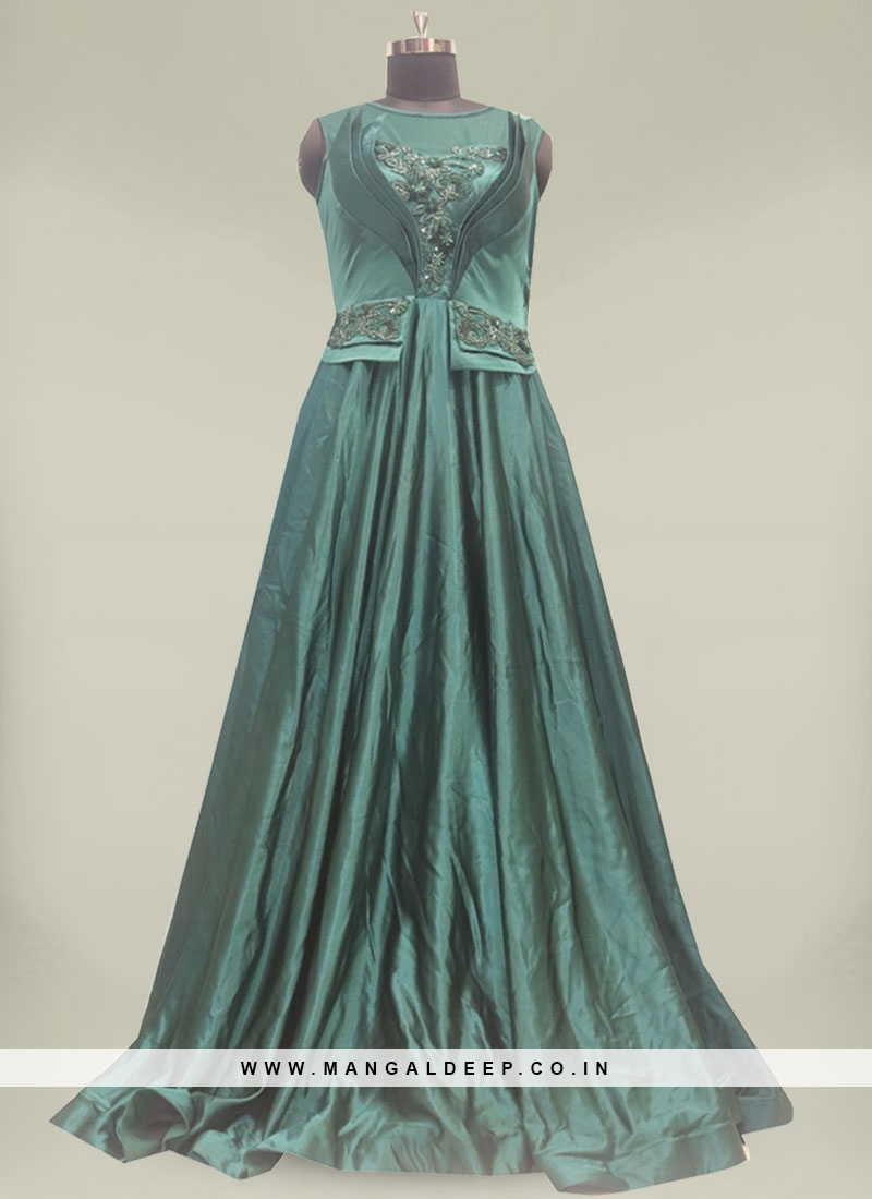 Green Color Sequins Work Silk Gown For Ladies