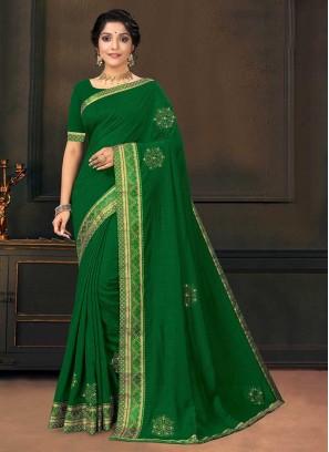 Green Color Silk Bold Saree