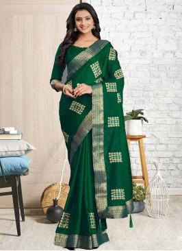 Green Color Silk Cotton Saree For Women