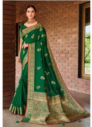 Green Color Silk Elegant Saree