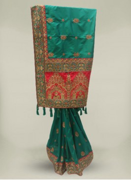 Green Color Silk Embrodered Patola Saree