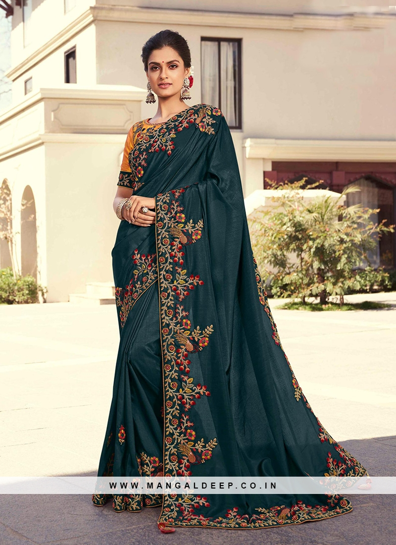 Green Color Silk Embroidered Saree
