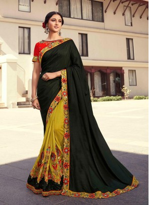 Green Color Silk Embroidered Saree With Heavy Blouse