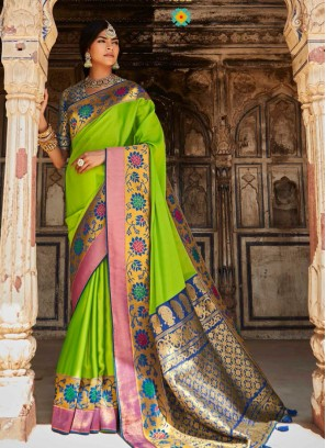 Green Color Silk Fanciful Saree