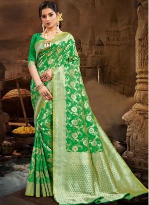 Green Color Silk Fancy Saree