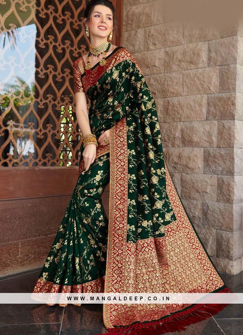 Green Color Silk Festive Wear Saree