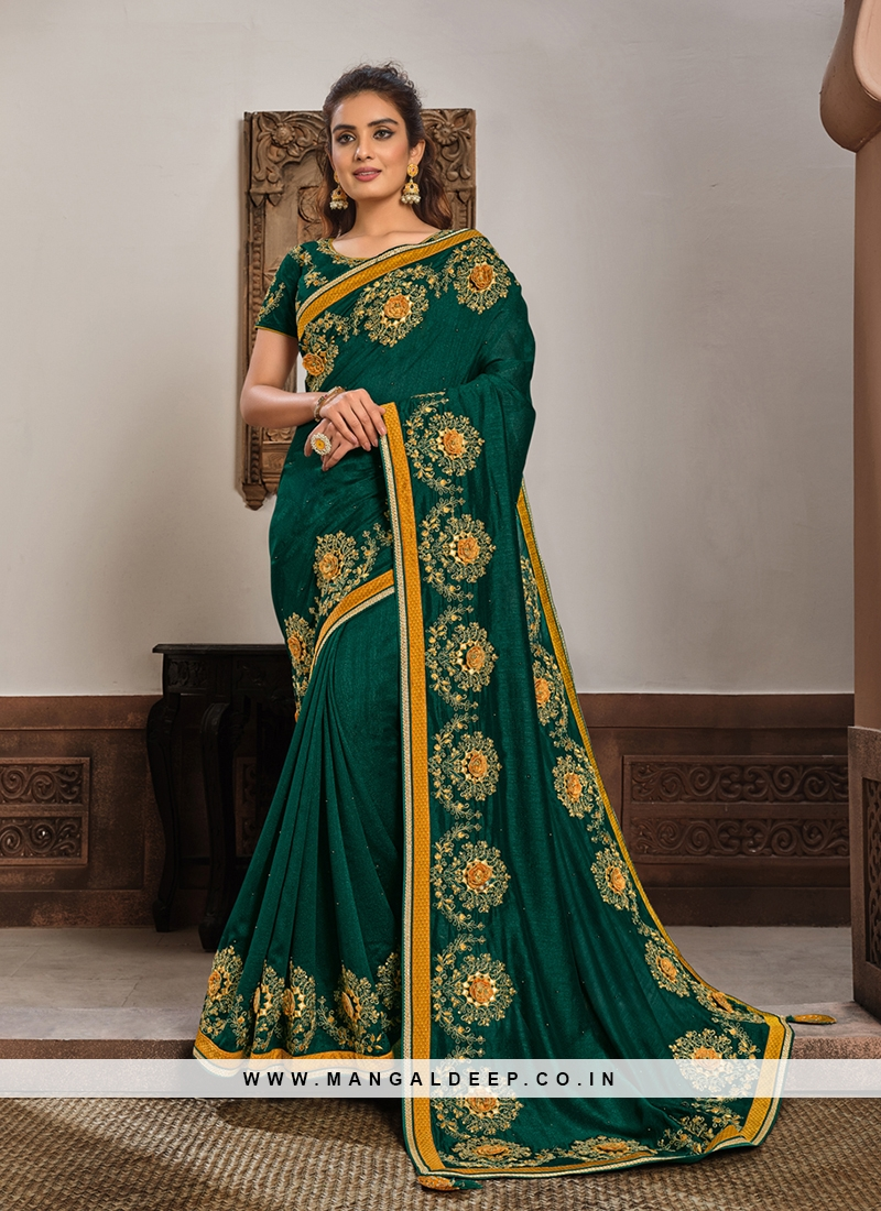 Green Color Silk Georgette Amazing Saree