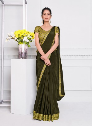 Green Color Silk Georgette Saree