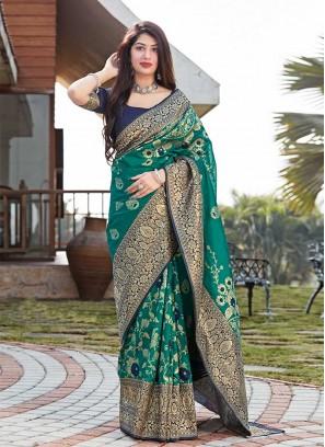 Green Color Silk Girls Wear Saree
