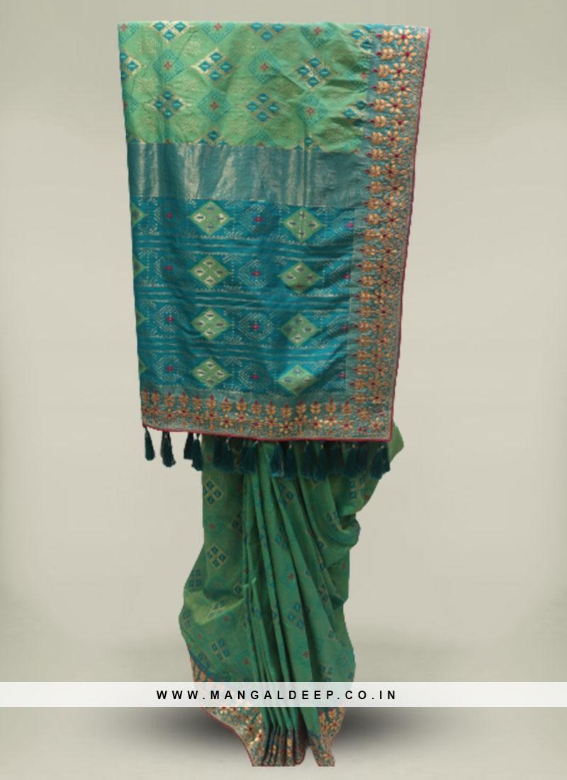 Green Color Silk Gota Patti Work Patola Saree