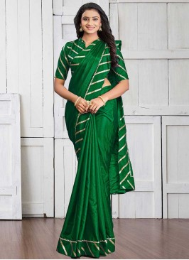 Green Color Silk Lace Border Saree