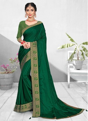 Green Color Silk Lace Border Saree For Ladies