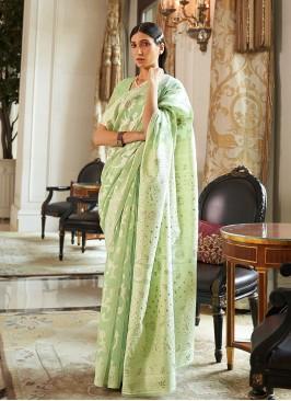 Green Color Silk Latest Design Saree