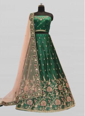 Green Color Silk Lehenga For Bride