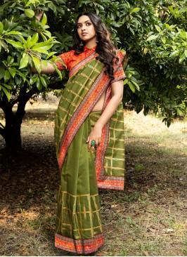 Green Color Silk New Saree