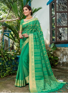Green Color Silk Office Wear Saree
