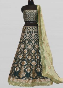 Green Color Silk Pattu Lehenga Choli