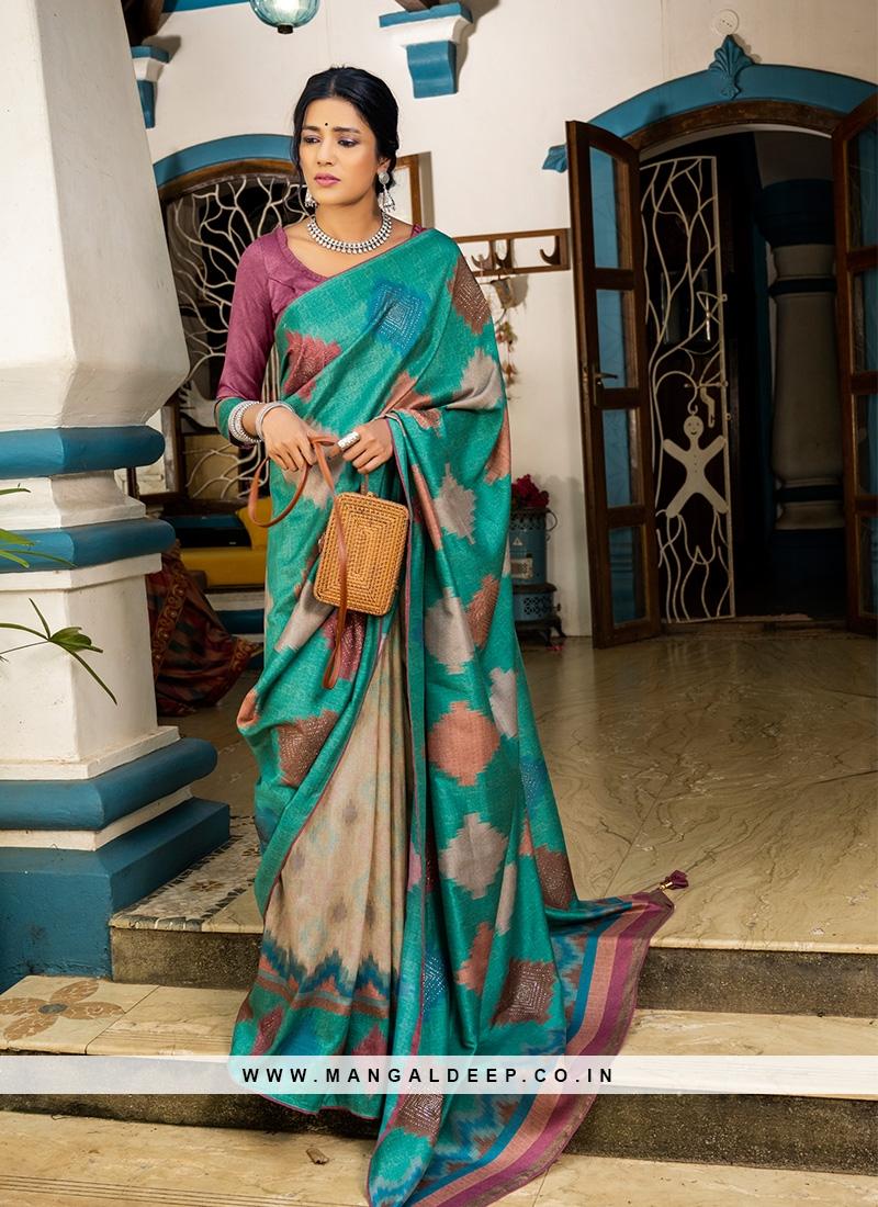 Green Color Silk Saree For Festive