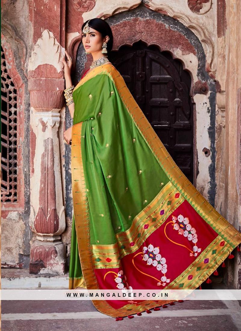 Green Color Silk Saree For Ladies