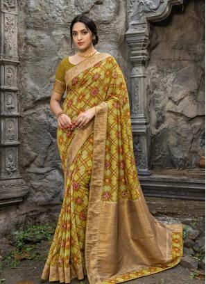 Green Color Silk Saree For Women
