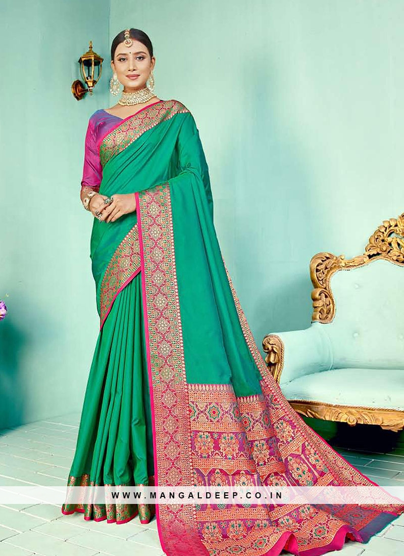 Green Color Silk Weaving Work Saree
