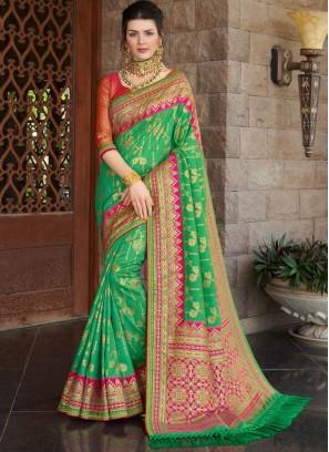 Green Color Silk Wedding Wear Saree