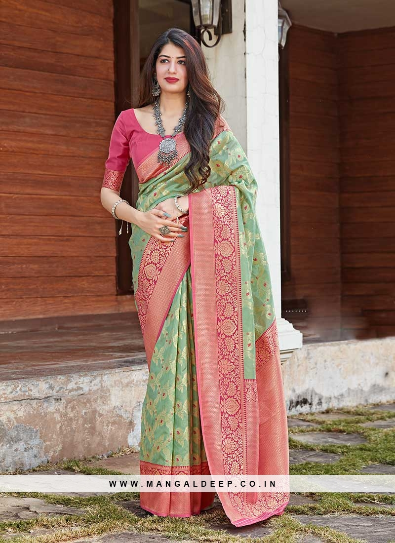 Green Color Silk Women Wear Saree