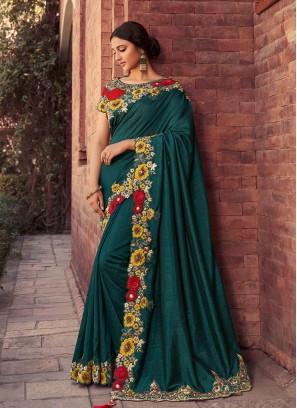 Green Color Silk Work Border Saree