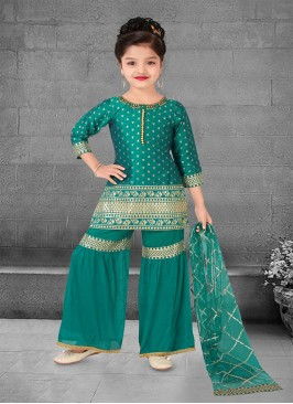 Green Color Silk Jacquard Buti Kids Sharara