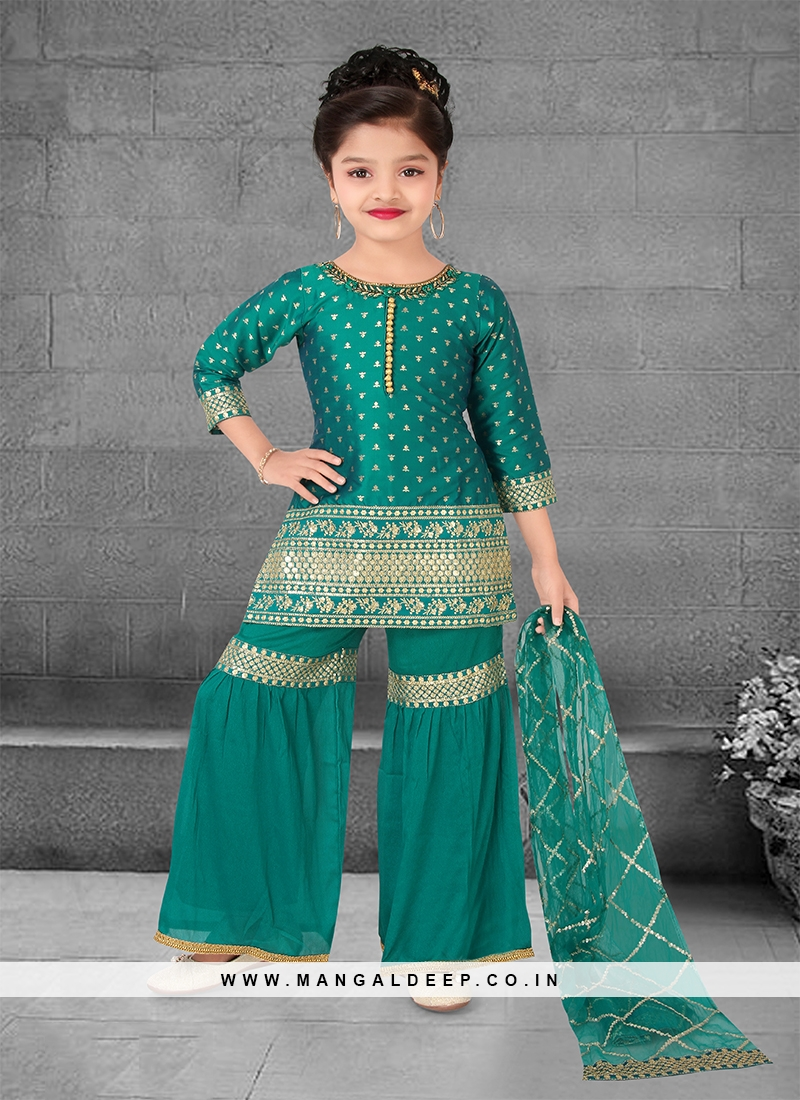 Green Color Silk Jacquard Buti Kids Sharara