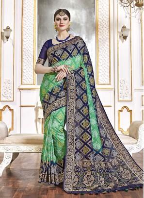 Green Color Viscose Wedding Function Sareee