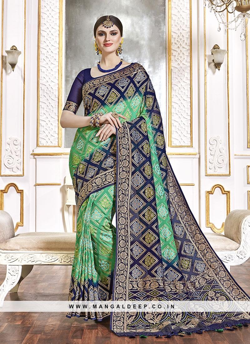 Green Color Viscose Wedding Wear Saree