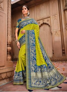 Green Color Weaving Silk New Saree